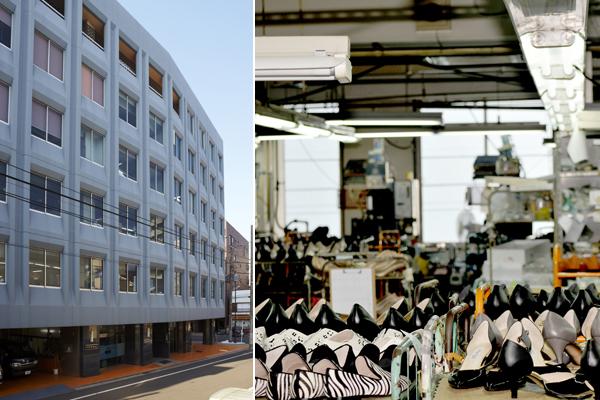 写真左:台東区今戸1丁目にある「株式会社パナマシューズ」のビル / 写真右:大量の靴が集まる仕上げ工程のフロアーの景観