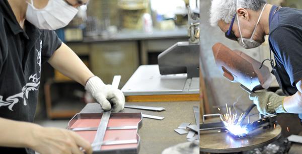 写真左:型紙通りに曲げられた鋼材をささえる金属を切って正確な長さに切って溶接できるように準備。 写真左:溶接作業