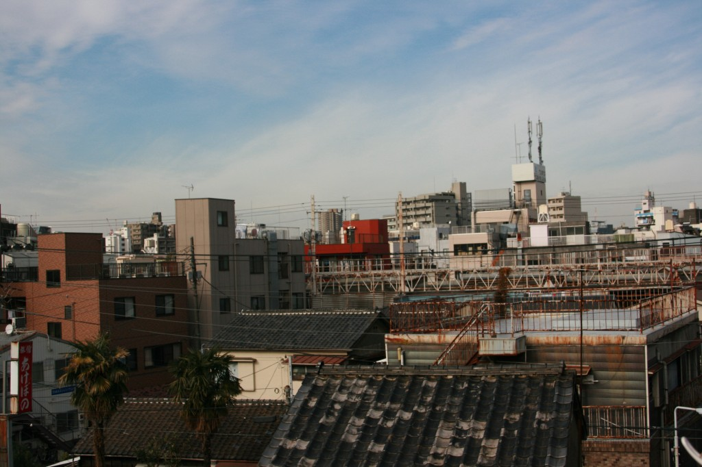 (写真: カンガルーホテルの屋上から。左右に伸びる鉄のはしごのようなものが、商店街アーケードの屋根だ)