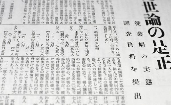 """1957年(昭和32年)に発行された「婦人新風」の記事。 """"全国の同業女性がどういう理由でこの仕事に就いたか?""""というアンケートの結果を掲載。"""