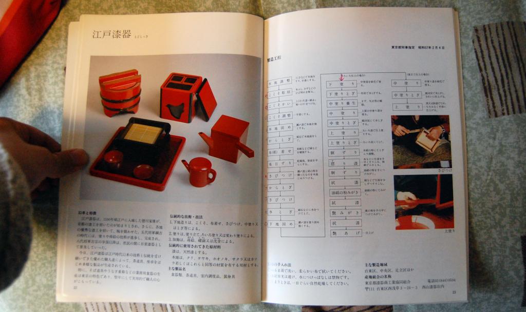 写真:江戸漆器の作業工程がまとめられたページ。「ろいろ仕上げ」の場合、全29工程