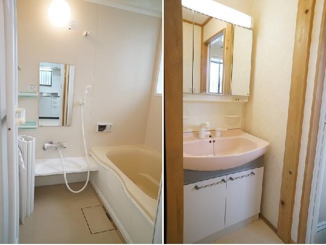 浴室は洗い場も浴槽も広々。洗面ボウルも大きい