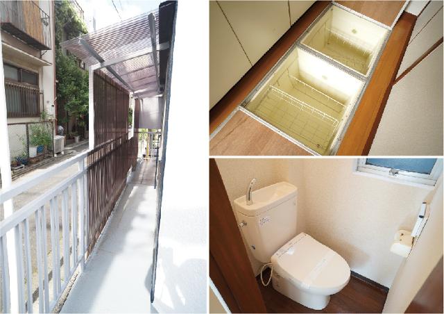 写真左:ビルの外にあるバイクや自転車も置けそうなスペース、写真右上:1階にある床下収納。写真右下:トイレ