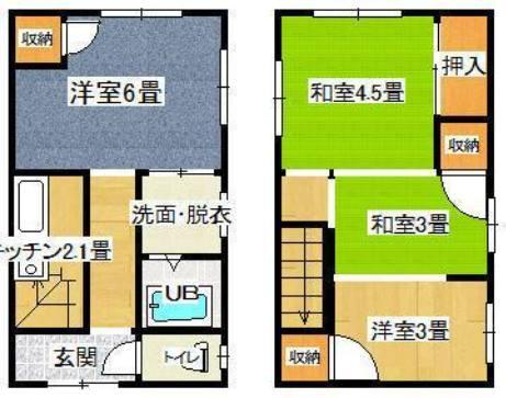 間取り図、左が1階、右が2階です。