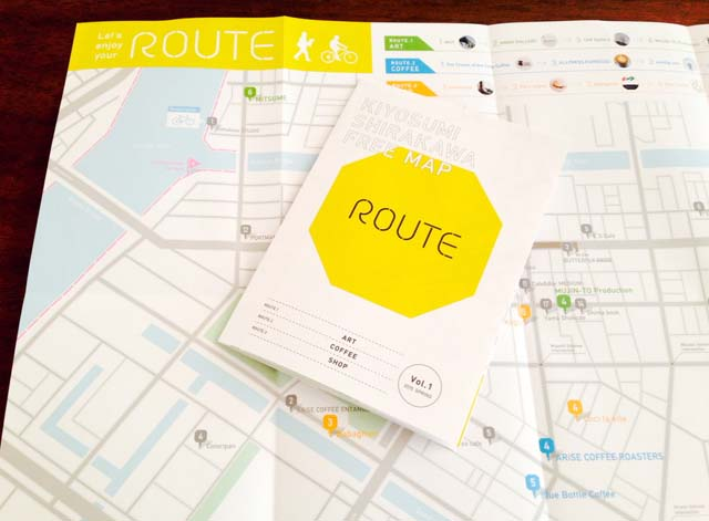 "「KIYOSUMI SHIRAKAWA FREE MAP ""ROUTE"" Vol.1」。アートスポットやセレクトショップをコース別でガイドします。「ROUTE vol.1」Project Team(編集:水上義近、デザイン:八木宏基、取材・執筆:岡島梓)"