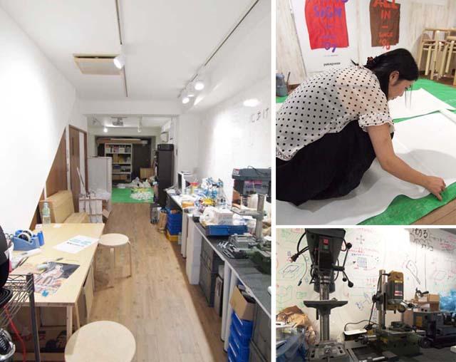 左:1階の共有アトリエスペース。大型の作品制作や立体の加工などができます 右上:個展に向けて作品を制作するアーティストのOumaさん。TOLABLのシェアメンバーの1人です 右下:金属加工のできる工具などがところ狭しと置かれています