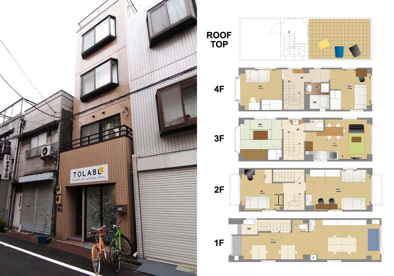 右:クリエイターズシェアハウス「TOLABL」の外観 左:TOLABLの各階平面図。4階にはお風呂もあります