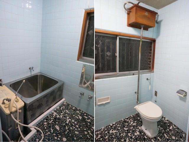 左:バランス釜のお風呂 右:トイレ お風呂とトイレは一つの同じ部屋にあります。