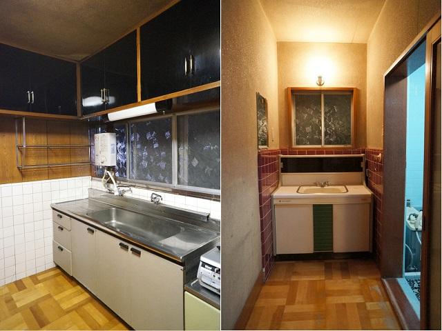 左:幅広のキッチン 右:壁面タイル張りの洗面台